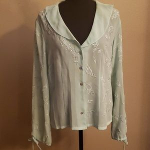 Blouse with embroidery and bling
